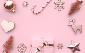 Picture decoration, background, pink, balls, New Year, Christmas, Christmas, balls, pink, New Year, gift, decoration, xmas, …