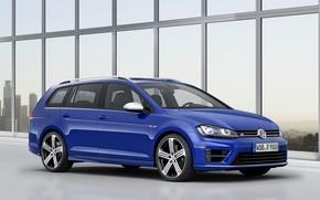 Picture blue, Volkswagen, drives, universal, 2014, Golf R Estate