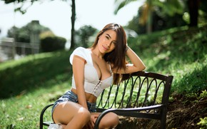 Picture look, the sun, landscape, pose, model, shorts, portrait, makeup, figure, piercing, hairstyle, brown hair, topic, …