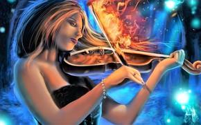Picture girl, fire, violin