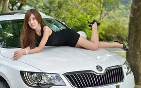 Picture auto, look, Girls, Asian, beautiful girl, posing on the hood, Skoda Superb Combi