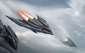 Picture The sky, Figure, Aircraft, Art, Art, Fiction, Fighters, Concept Art, Vehicles, Transport, Transport & Vehicles, …