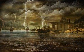 Picture the storm, the sky, water, clouds, trees, landscape, clouds, nature, house, stones, rendering, rocks, shore, …