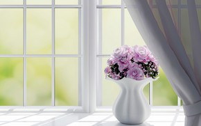 Picture flowers, rendering, window, vase