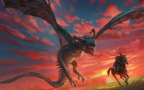Picture sunset, horse, dragon, horse, warrior, rider, dragon