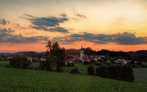 Picture greens, field, forest, summer, the sky, clouds, trees, sunset, hills, the slopes, view, home, dal, …