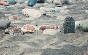 Picture sand, beach, stones, calm, positive, mehendi