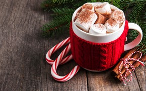 Picture decoration, cup, New Year, merry, hot chocolate, decoration, marshmallows, fir tree, fir-tree branches, wood, cocoa, …