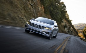 Picture road, movement, slope, Volkswagen, sedan, Passat, 2020, 2019, US Version