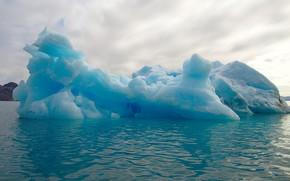 Picture cold, winter, sea, the sky, snow, blue, shore, ice, ruffle, iceberg, ice, floe, shade, lump, …