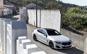 Picture white, the fence, coupe, BMW, Gran Coupe, travel, 840i, 8-Series, 2019, the four-door coupe, Eight, …