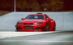 Picture Nissan, Red, GT-R, Car, Skyline, Tuning, R34