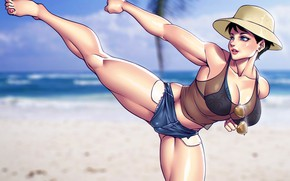 Picture beach, chest, summer, girl, feet, body, shorts, hat, glasses, fighter, muscle
