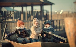 Picture joy, children, boat, pier, girl, boys, Marianne Smolin