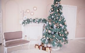 Picture decoration, balls, tree, New Year, Christmas, gifts, Christmas, balls, design, New Year, gift, room, interior, …