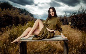 Picture grass, look, clouds, nature, sexy, pose, model, portrait, barefoot, makeup, dress, hairstyle, brown hair, legs, ...