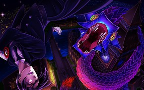 Picture night, watch, London, the demon, snakes, Kuroshitsuji, Sebastian Michaelis, Sebastian Michaelis, Dark Butler, Big Ben