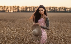 Picture wheat, chest, girl, model, hat, tattoo, Louis of Navarre, Anna Sakharov