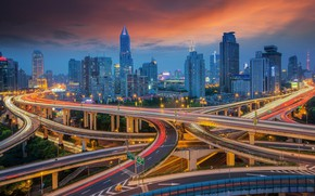 Picture sunset, the city, road, China, Shanghai, Shanghai