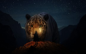 Picture animals, cats, nature, girls, landscapes, Tiger, fantasy