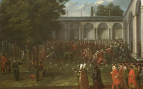 Picture oil, picture, canvas, 1737, Жан Батист Ван Мур, Jean Baptiste Vanmour, Посол идет через второй …
