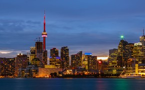 Picture ship, CN Tower, lights, the evening, tower, twilight, building, promenade, Canada, clouds, home, panorama, Toronto, …