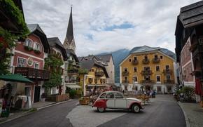 Picture clouds, the city, home, Austria, area, Church, car, Hallstatt, Hallstatt, municipality, Hallstatt