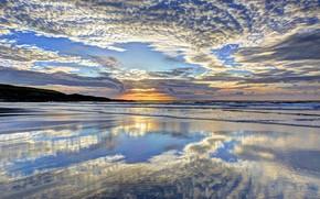 Wallpaper sea, the sky, the sun, clouds