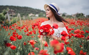 Picture summer, look, girl, flowers, nature, pose, Maki, chamomile, hat, bokeh, Xenia, Sergey Shatskov