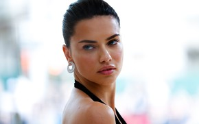 Picture look, earrings, makeup, Adriana Lima, Adriana Lima, look, Hair, Victoria's Secret, makeup, earrings, supermodel