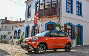 Picture red, the building, Fiat, Cross, 500L