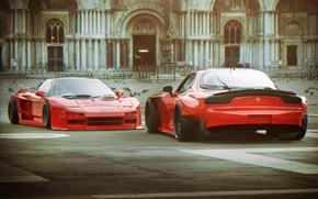 Picture Red, Auto, Machine, Mazda, Honda, RX-7, NSX, Mazda rx7, Mazda RX-7, Honda NSX, Transport & …