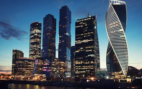 Picture The evening, The city, River, Moscow, Skyscrapers