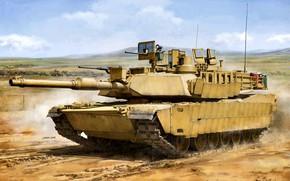 Picture Abrams, US Army, M1 Abrams, M1A2 SEP, Main battle tank USA, 2x7.62mm machine gun М240, …