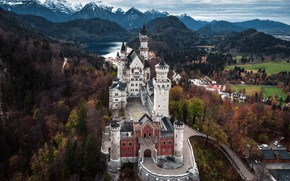 Picture autumn, the sky, mountains, lake, castle, view, beauty, Germany, Bayern, Alessandro laurito, Castle Neuschwanstein