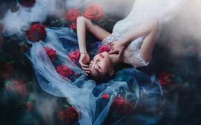 Picture girl, flowers, style, the dark background, roses, dress, lies, Asian, the bride, veil, closed eyes