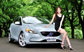 Picture auto, look, Girls, Asian, beautiful girl, posing on the car, VOLVO V40 T4