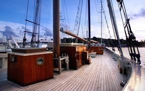 Picture ship, sailboat, deck, equipment, mast, rigging