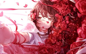 Picture girl, roses, bouquet, red roses