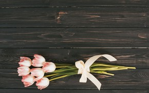 Picture flowers, bouquet, tulips, pink, wood, pink, flowers, tulips