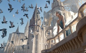 Picture girl, birds, the building, fantasy, art, pigeons, tower, balcony, elf, illustration