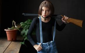 Picture girl, the gun, Matilda, brown-eyed, Alexander Vinogradov