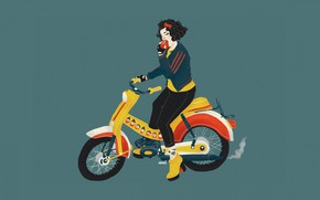 Picture girl, vector, motorcycle