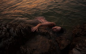 Picture sea, girl, stones, shore, the situation, wet, dress, in the water, closed eyes