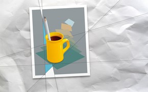 Picture paper, vector, mug, pencil, wrinkled paper, computer graphics, vector graphics, raster graphics, 2D graphics, raster