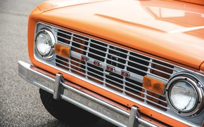 Picture orange, Ford, grille, Bronco, Half Cab