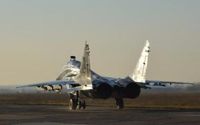 Picture Sunset, Fighter, Ukraine, The MiG-29, Ukrainian air force