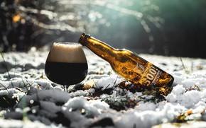 Picture winter, snow, bottle, beer, drink, brand
