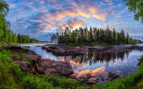Picture forest, trees, reflection, river, dawn, island, morning, Finland, Finland, Kiiminki River River, Kiiminki, Kiiminki