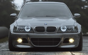 Picture Auto, BMW, Machine, Grey, Lights, Car, Render, Silver, E46, BMW M3, The front, BMW M3 …